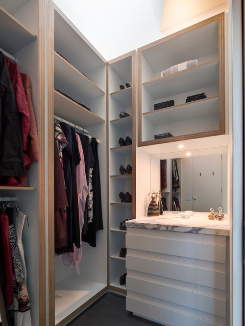 inspiration for a small contemporary womens walk in closet remodel in melbourne with flat - Walk In Wardrobe Designs
