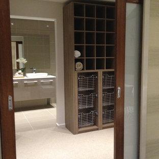 Imagen de vestidor unisex, costero, grande, con armarios abiertos, puertas de armario de madera oscura, moqueta y suelo beige