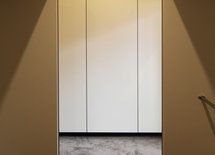 Colour of the laminex cupboards in the kitchen and wadrobe