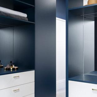 Diseño de armario y vestidor minimalista con puertas de armario azules