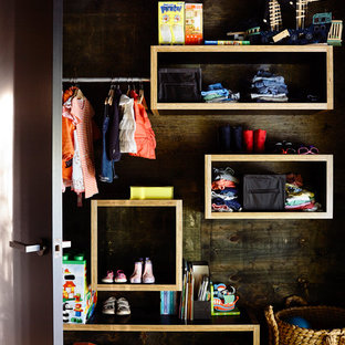 Closet - mid-sized contemporary gender-neutral closet idea in Melbourne with open cabinets and medium tone wood cabinets