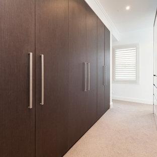 Diseño de armario vestidor unisex, contemporáneo, con armarios con paneles lisos, puertas de armario marrones y moqueta