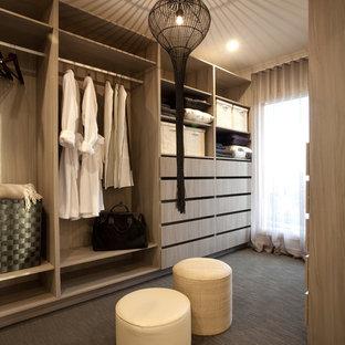 Ejemplo de armario y vestidor unisex, contemporáneo, de tamaño medio, con armarios con paneles lisos y moqueta