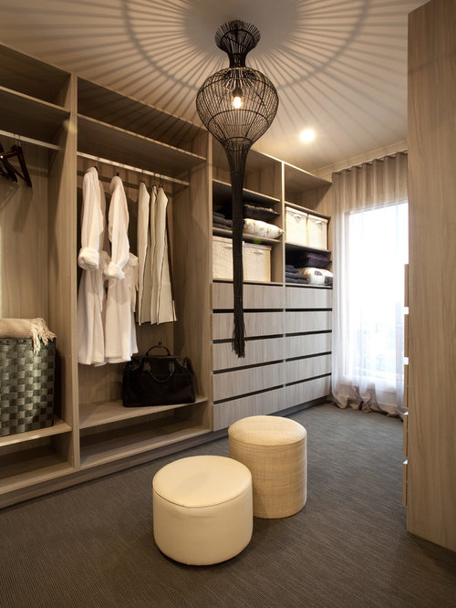 Inspiration For A Mid Sized Contemporary Gender Neutral Carpeted Closet  Remodel In Melbourne With