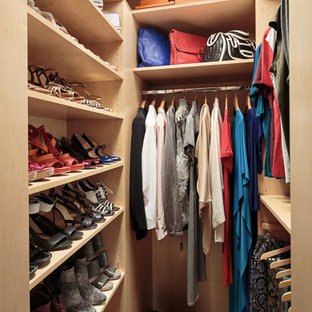 Inspiration For A Small Contemporary Women S Medium Tone Wood Floor Walk In Closet Remodel