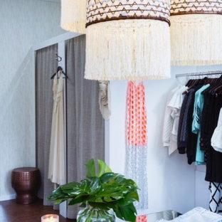 Small trendy women's light wood floor and brown floor dressing room photo in Sydney