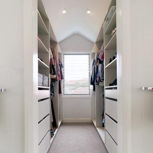 Immagine di una cabina armadio unisex minimal di medie dimensioni con ante lisce, ante bianche e moquette