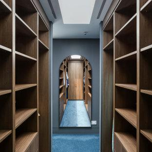 Immagine di una grande cabina armadio unisex contemporanea con ante lisce, ante in legno scuro, moquette e pavimento blu