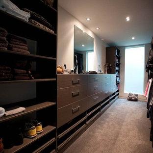 Diseño de armario vestidor unisex, contemporáneo, grande, con armarios con paneles lisos, puertas de armario de madera clara y moqueta