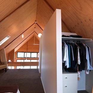 Diseño de armario vestidor unisex, minimalista, pequeño, con armarios con paneles lisos, puertas de armario blancas y moqueta