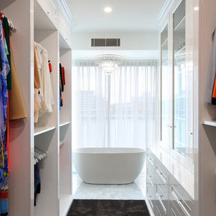This is an example of a transitional storage and wardrobe in Brisbane.