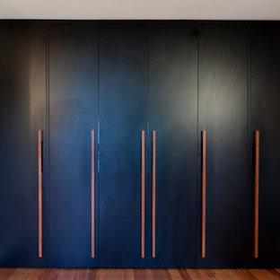 Diseño de armario de hombre, contemporáneo, de tamaño medio, con armarios con paneles lisos, puertas de armario negras y suelo de madera en tonos medios