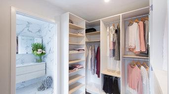 Scandinavian style walk in wardrobe