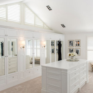 ブリスベンの巨大な男女兼用ビーチスタイルのおしゃれなフィッティングルーム (白いキャビネット、カーペット敷き) の写真