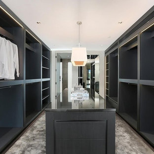 Design ideas for a large contemporary gender-neutral walk-in wardrobe in Sydney with black cabinets, carpet and grey floor.