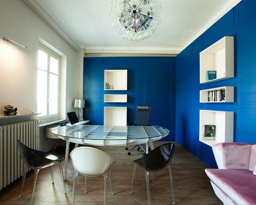 Scrivania Ufficio Blu : Foto e idee per studi studio con pareti blu