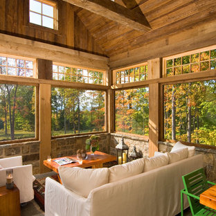 Inspiration for a rustic sunroom remodel in New York with a standard ceiling