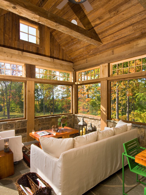 Inspiration For A Rustic Sunroom Remodel In Boston With A Standard Ceiling