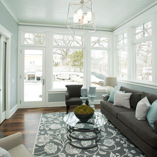 Inspiration for a mid-sized transitional dark wood floor and brown floor sunroom remodel in Minneapolis with no fireplace