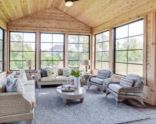 25 all time favorite farmhouse sunroom ideas houzz for Farmhouse sunroom ideas