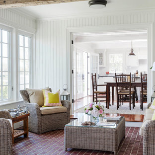 Inspiration For A Mid Sized Beach Style Brick Floor And Red Sunroom Remodel In