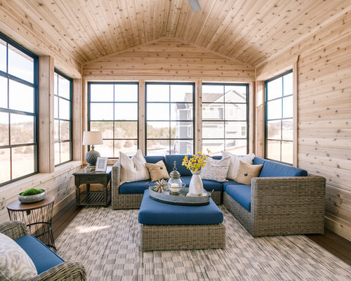Large Beach Style Dark Wood Floor And Brown Sunroom Idea In Minneapolis With A Standard