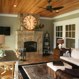 Inspiration for a timeless sunroom remodel in Chicago with a stone fireplace and a standard ceiling
