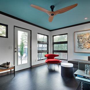 Idee per una veranda design di medie dimensioni con pavimento in linoleum