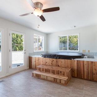 Foto di una grande veranda chic con nessun camino, soffitto classico e pavimento in linoleum