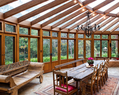 Rustic sunroom design ideas remodels photos with slate for Rustic sunrooms