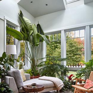 Foto de galería tropical con techo estándar