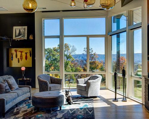 v randas contemporaines avec une chemin e d 39 angle photos et id es d co de v randas. Black Bedroom Furniture Sets. Home Design Ideas