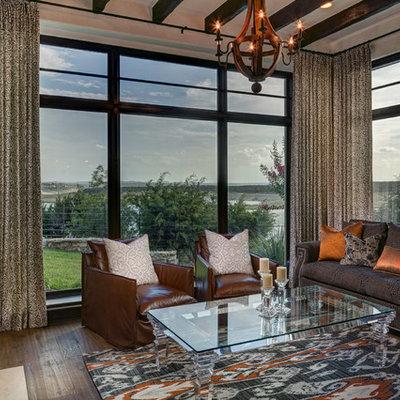 Sunroom - mediterranean dark wood floor sunroom idea in Austin with a standard ceiling