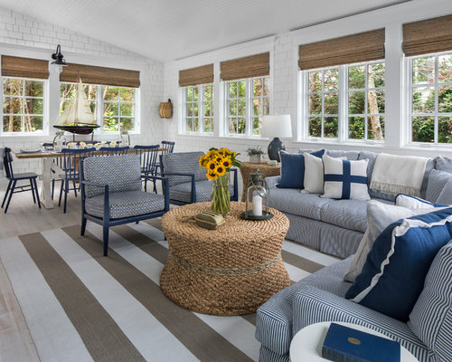 Coastal Open Concept Light Wood Floor Living Room Photo In Other With White  Walls Part 64