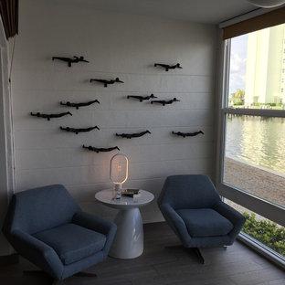 Idéer för ett litet modernt uterum, med linoleumgolv, tak och grått golv