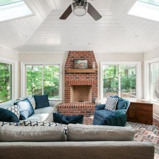 Beautiful Brick Floor Sunroom