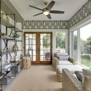 Example of a farmhouse carpeted sunroom design in Minneapolis with a standard ceiling