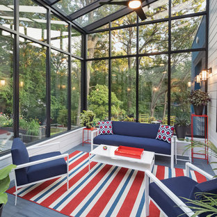Inspiration for a transitional gray floor sunroom remodel in Minneapolis with no fireplace and a glass ceiling