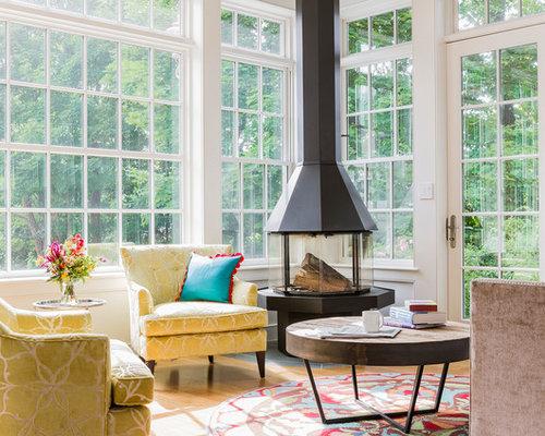 sunroom with fireplace. Sunroom  mid sized transitional medium tone wood floor sunroom idea in Boston with a Sunrooms With Fireplaces Houzz