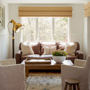 Inspiration for a small coastal light wood floor sunroom remodel in Boston with no fireplace