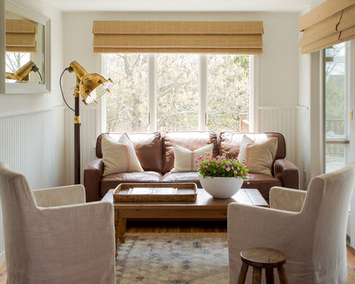 Inspiration For A Small Beach Style Family Room Remodel In Boston With White Walls And Light
