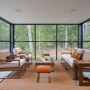 Esempio di una veranda moderna con pavimento in cemento, soffitto classico e pavimento grigio