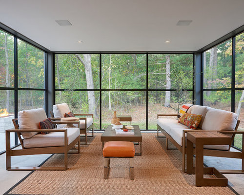 inspiration for a contemporary concrete floor and gray floor sunroom remodel in grand rapids with a - Sunroom Ideas Designs