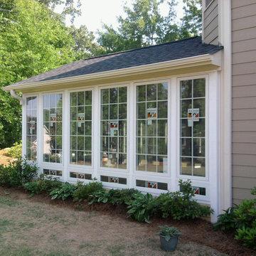 Casement windows in sunroom
