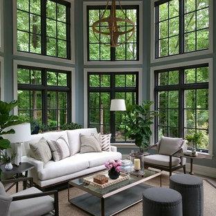 Idee per una veranda chic con soffitto classico e pavimento grigio