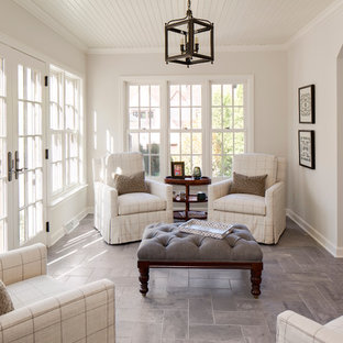 Inspiration for a timeless gray floor sunroom remodel in Milwaukee with a standard ceiling