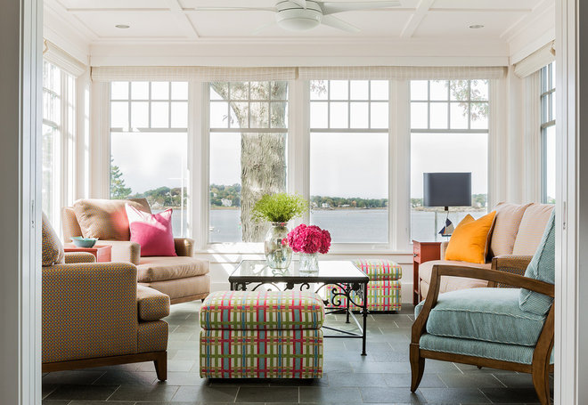 Transitional Sunroom by Elizabeth Swartz Interiors