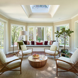 Example of a mid-sized classic terra-cotta tile and red floor sunroom design in Portland with no fireplace and a skylight