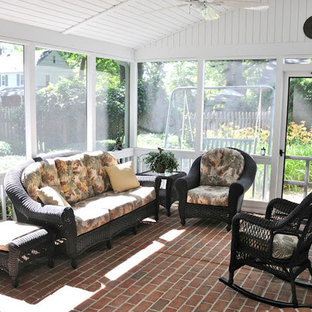 Photo of a medium sized farmhouse conservatory in Baltimore with brick flooring, no fireplace and a standard ceiling.