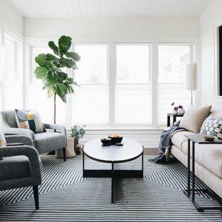 シカゴの中サイズのトランジショナルスタイルのおしゃれなサンルーム (濃色無垢フローリング、茶色い床) の写真
